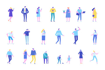 Vector set of people characters isolated on white. Flat cartoon design.