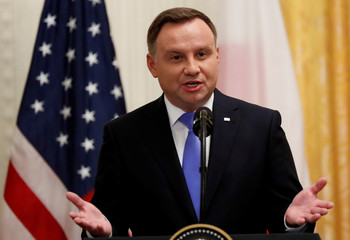 Poland's President Duda addresses joint news conference at the White House in Washington