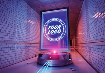 Futuristic Billboard In Tunnel Mockup