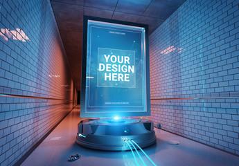 Futuristic Billboard In Tunnel Mockup