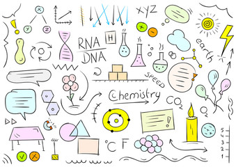 chemistry, biology symbols and shapes. colored chemistry and biology world hand drawing vector