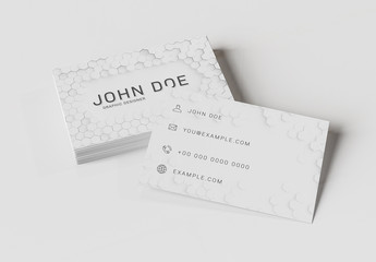 Stack of Business Cards on Colored Desk Mockup