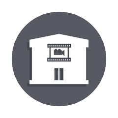 Cinema building icon in badge style. One of Buildings collection icon can be used for UI, UX