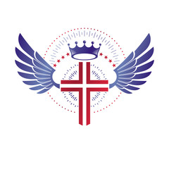 Cross of Christianity graphic emblem. Heraldic vector design element. Retro style label, religious insignia decorated with luxury monarch crown and liberty bird wings.