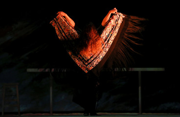 "Flamenco dancer Rocio Molina performs during a rehearsal of her work ""Grito Pelao"" as part of the Bienal of Flamenco in Seville"