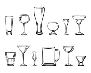 Vector outline hand drawn sketch illustration with different types of drinking glasses