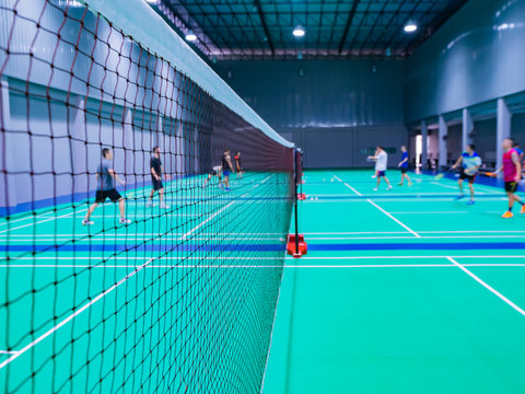 badminton net in the badminton court.