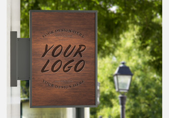 Vertical Wooden Store Sign Mockup