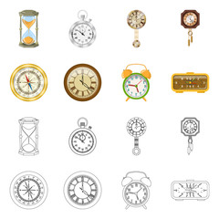 Vector design of clock and time sign. Set of clock and circle vector icon for stock.