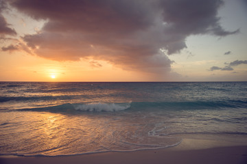 View of caribbean seascape at sunset