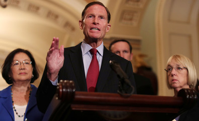 U.S. Democratic Senator Blumenthal speaks to reporters about the Supreme Court nomination of federal appeals court judge Brett Kavanaugh on Capitol Hill in Washington