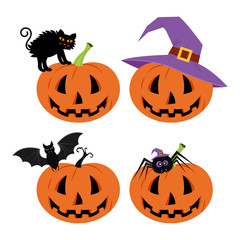 Happy Halloween Day , Bat and spider, Cute pumpkin in a hat spooky scary smile and black cat isolated on white background, sign element.