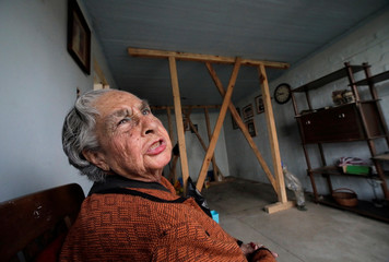 Carmen Machargo Tellez, 94, is pictured inside her apartment in the Tlalpan neighbourhood, where her building was damaged by the devastating earthquake, that took place in Mexico City last year