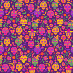 Dia de los muertos seamless vector pattern. The main symbols of the holiday on the dark background. Day of the dead.