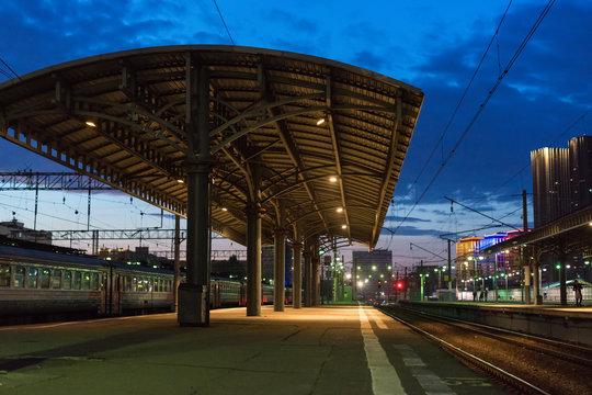 Empty train station at night