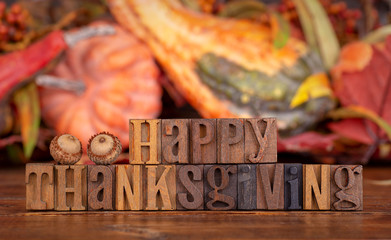 Happy Thanksgiving Banner on a Colorful Autumn Background