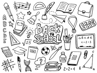 Back to School with hand drawn school supplies. Doodle lettering and school object collection. Sketch icon set. Kids style ink background. Education Concept. Vector illustration.