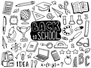 Back to school doodle elements. Lettering and school supplies collection. Sketch icon set. Vector illustration.