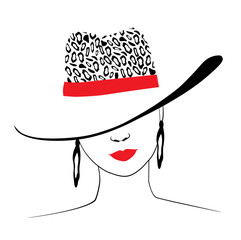 Woman in hat with leopard print and red ribbon. Red lips chic. Fashion illustration. Vector EPS 10.