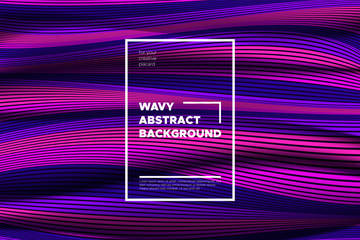 Trendy Abstract Background with 3d Effect. Wave Texture with Pink, Blue, Purple Distorted Lines. Creative Optical Illusion. Futuristic Style. Abstract Background with Volumetric Striped Shapes. Eps10.