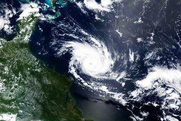 Satellite view of Hurricane. Elements of this image furnished by NASA.