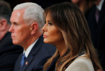 U.S. first lady Melania Trump listens to joint news conference held by President Trump and Poland's President Duda at the White House in Washington