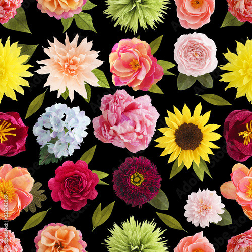Seamless pattern with handmade crepe paper flowers on black seamless pattern with handmade crepe paper flowers on black background mightylinksfo