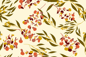Tropical Seamless Pattern. Vector Eucalyptus Leaves and Beautiful Floral Elements. Botanical Summer Background. Elegant Tropical Seamless Pattern for Wedding Design, Print, Textile, Fabric, Wrapping.