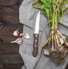 bunch of young garlic and a kitchen knife