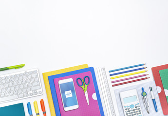 Smartphone with School Supplies Mockup
