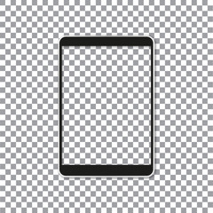 Black portable tablet pad mock up. Vector illustration