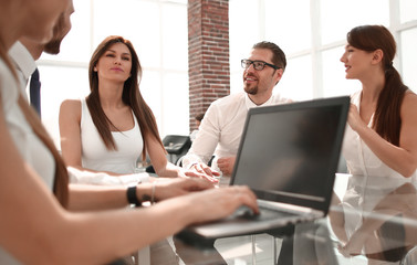 business team at a workshop in a modern office