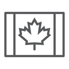 Canadian flag line icon, canada and maple, leaf sign, vector graphics, a linear pattern on a white background.