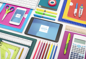 Smartphone and Tablet with School Supplies Mockup