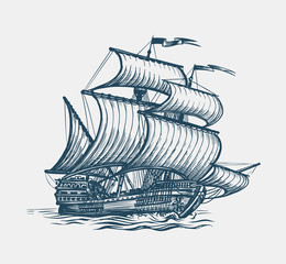 Fotorolgordijn Schip Vintage sailing ship. Seafaring, sailer concept. Sketch vector illustration
