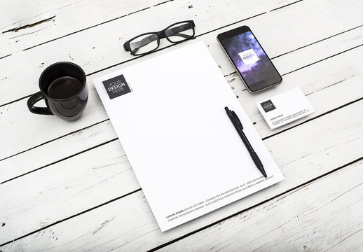 Letterhead, Business Card and Smartphone Mockup