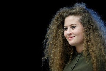 Palestinian teenager Ahed Tamimi, attends a conference in Nantes