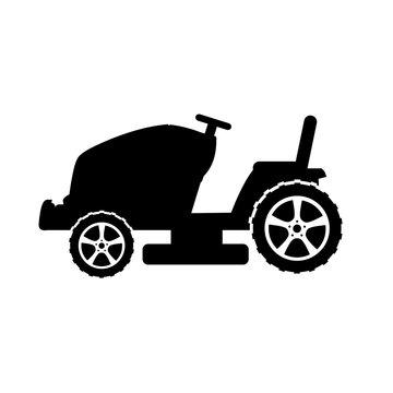 Lawn mower icon, silhouette, logo on white background