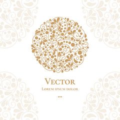 Golden emblem. Elegant, classic elements. Can be used for jewelry, beauty and fashion industry. Great for logo, monogram, invitation, flyer, menu, brochure, postcard, background, or any desired idea.