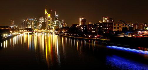 The skyline with its financial district is photographed on early evening in Frankfurt