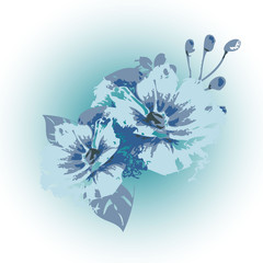 Elegance light blue vector flowers illustration. White floral background. Decorative design. Grunge texture. For wallpapers, fabric, priting, cards