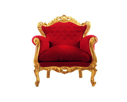Red and gold luxury armchair isolated on white background