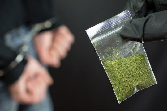 illegal transport of drugs. close up of addict narcotics dose  marijuana, arrested drug dealer. A police officer finds  Little Bag Of Drugs