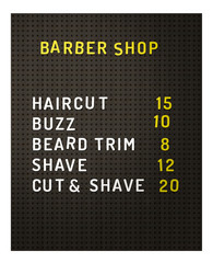 Isolated Barber Shop Prices