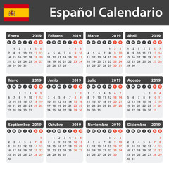 Spanish Calendar for 2019. Scheduler, agenda or diary template. Week starts on Monday