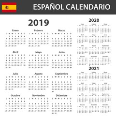 Spanish Calendar for 2019, 2020 and 2021. Scheduler, agenda or diary template. Week starts on Monday