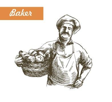 vintage illustration of a Baker with basket