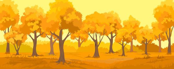 Autumn rural landscape. Autumn forest