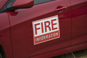 Fire Information magnet sign on a vehicle managing the Terwilliger Fire in the Willamette National Forest.
