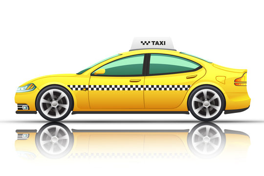Illustration of taxi car, isolated on a white background.